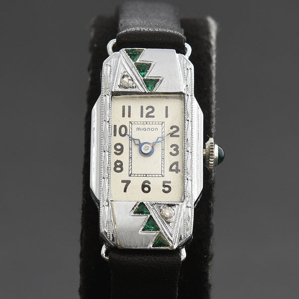 20s ETON Ladies Art Deco Diamonds/Emerald 14K Gold Watch
