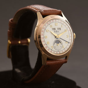 50s PERFINE Gents Triple Calendar Mondphase Vintage Swiss Watch