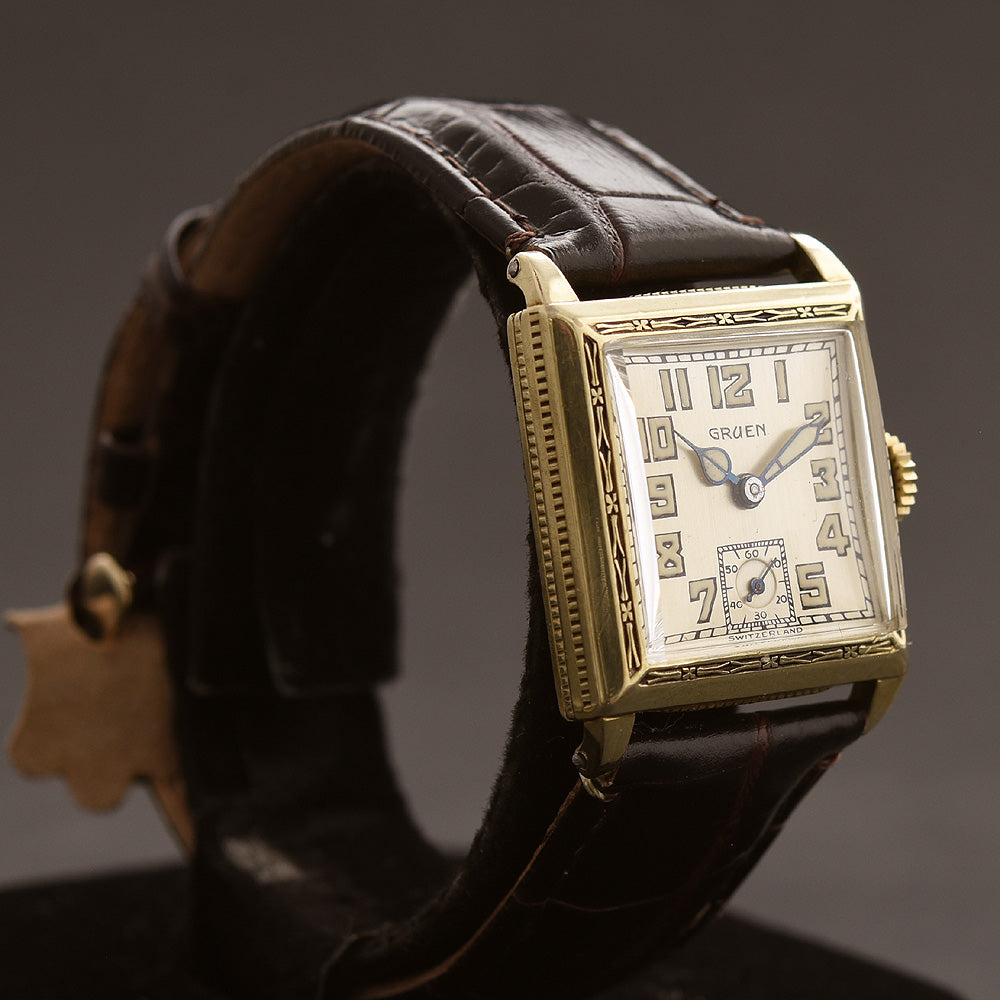 20s GRUEN Guild Gents Art Deco Square Enamel Watch
