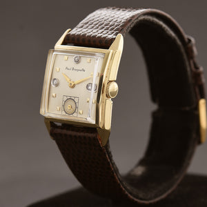 40s PAUL BREGUETTE 14K Solid Gold/Diamonds Gents Dress Watch