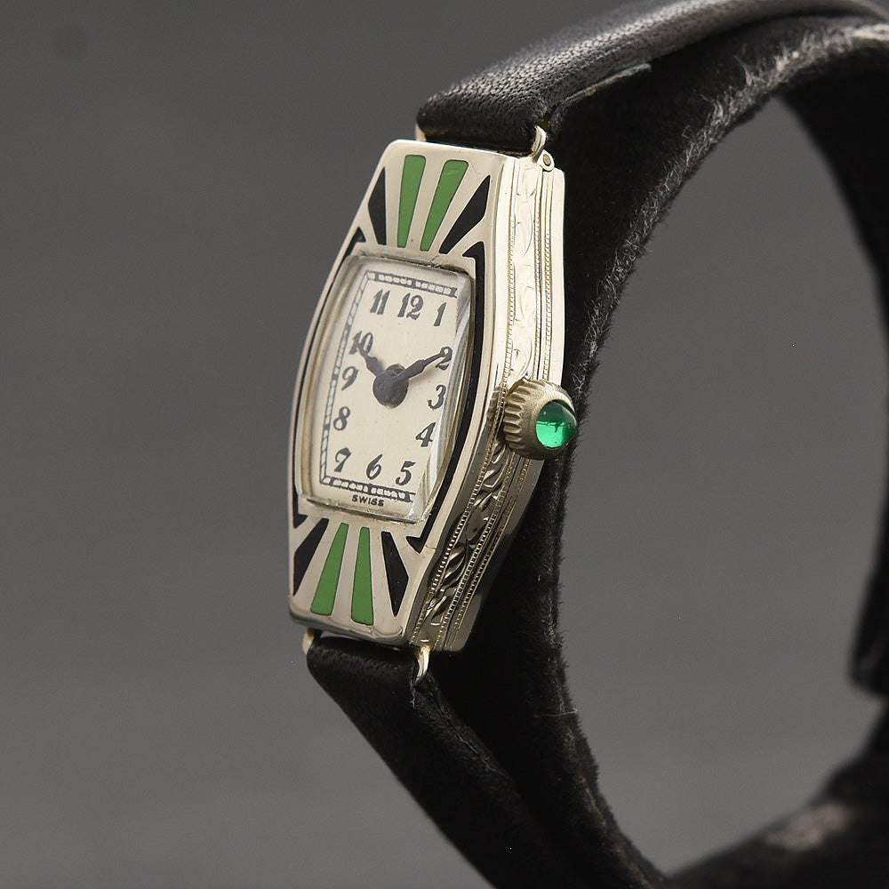 20s MILDUS Ladies Art Deco Enamel/14K Gold Watch