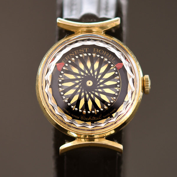 70s ERNEST BOREL Cocktail® Black Ladies Vintage Watch