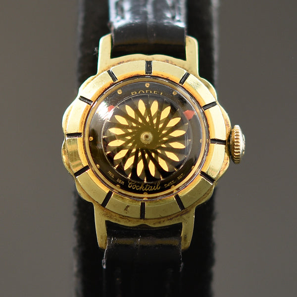 60s ERNEST BOREL Cocktail® 'Black Flower' Ladies Vintage Watch