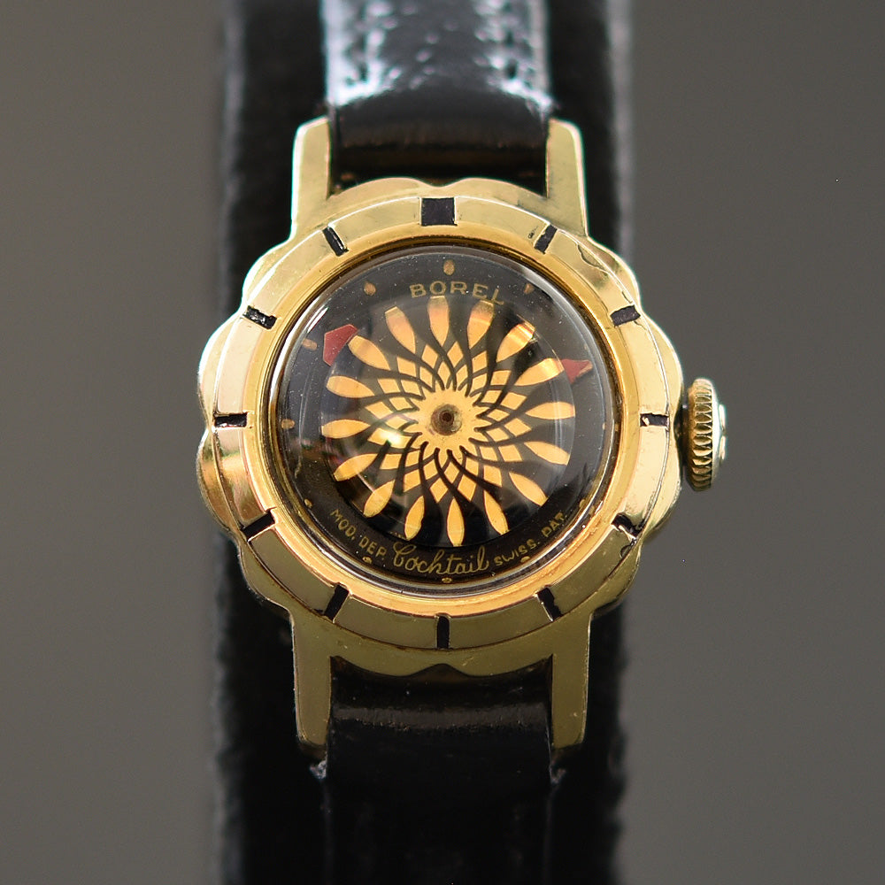 50s ERNEST BOREL Cocktail® 'Black Flower' Ladies Vintage Watch