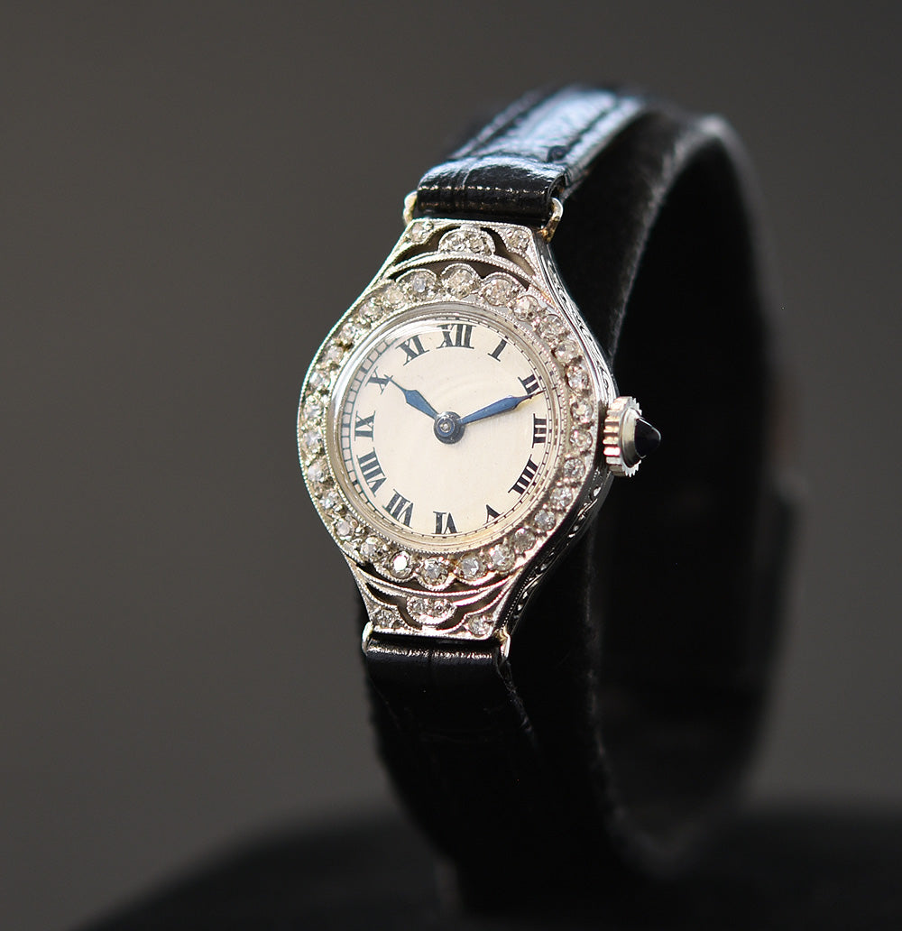 1919 LONGINES Ladies Platinum/Diamonds Art Deco Watch