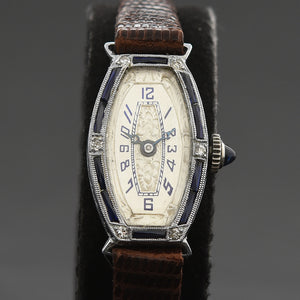 20s HELBROS Ladies 18K Gold & Diamonds/Sapphires Art Deco Watch