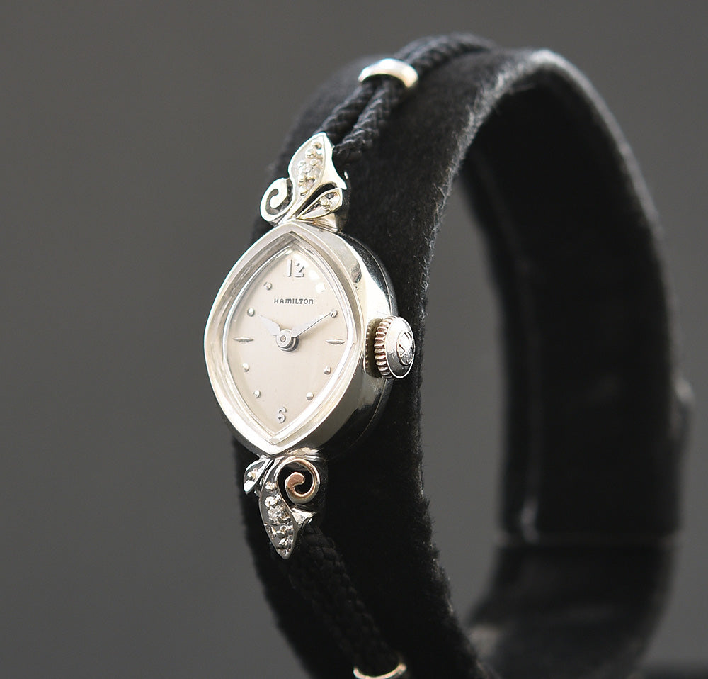 1962 HAMILTON USA 'Glamour BB' Ladies 14K Gold Cocktail Watch