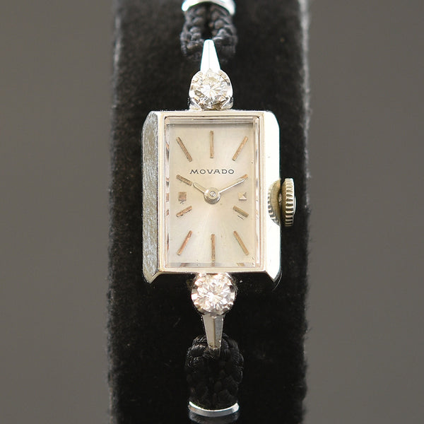 60s MOVADO Ladies 14K Gold/Diamonds Cocktail Watch