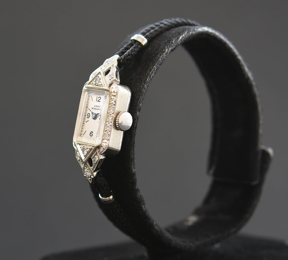30s GIRARD-PERREGAUX Ladies 14K Gold/Diamonds Art Deco Watch