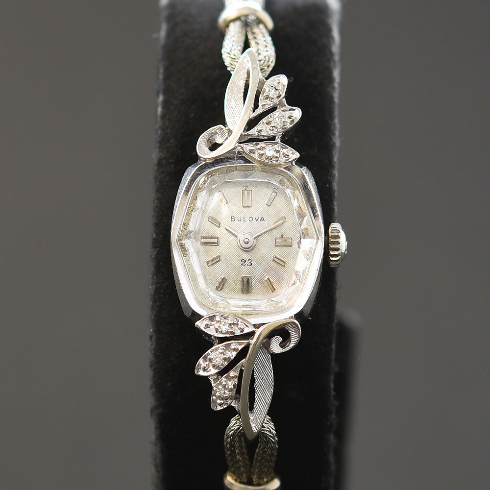 1965 BULOVA USA 23 Ladies 14K Gold/Diamonds Cocktail Watch