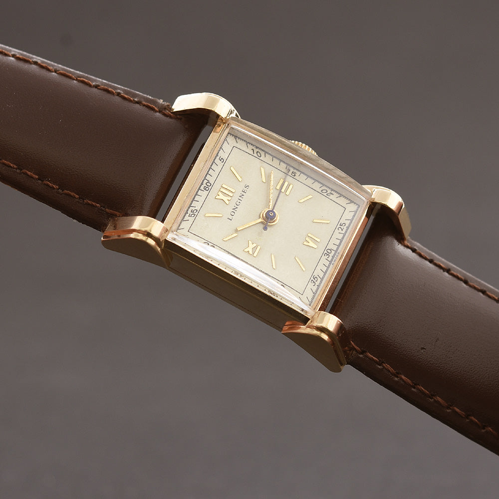 1947 LONGINES Gents Doctor's Dial 14K Solid Gold Vintage Watch