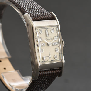 40s JAEGER LECOULTRE Gents Palladium/Diamonds Dress Watch