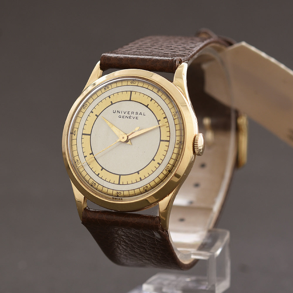 40s UNIVERSAL GENEVE Gents 18K Gold Swiss Dress Watch