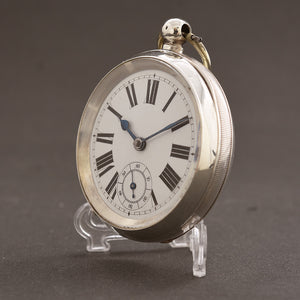 1880s Swiss Large English Market .935 Silver Pocket Watch