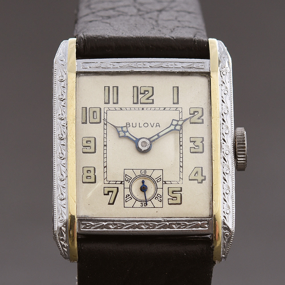 1929 BULOVA USA Dual-Tone Gents Art Deco Watch
