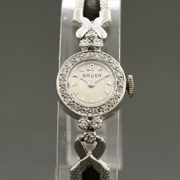 1956 GRUEN 14K Gold/Diamonds Swiss Ladies Cocktail Watch