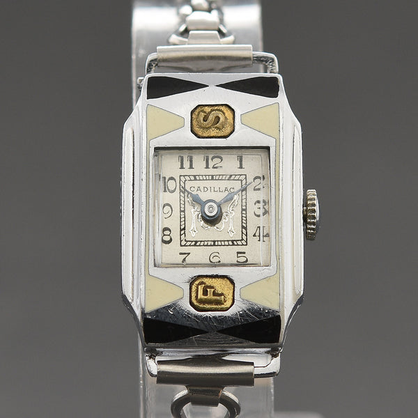 20s CADILLAC Ladies Enamel Art Deco Watch
