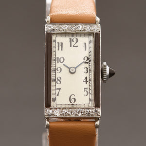 30s PERY Ladies Platinum & Diamonds Enamel Art Deco Watch