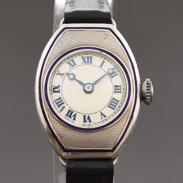 20s THE ANGUS 0.935 Silver Enamel Ladies Art Deco Watch