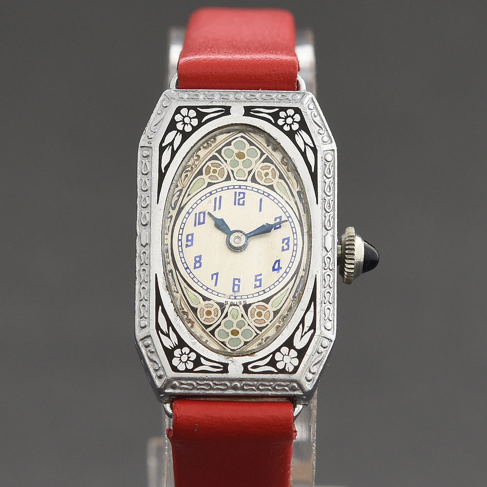 20s TOLEDO Ladies Massive Enamel Art Deco Watch