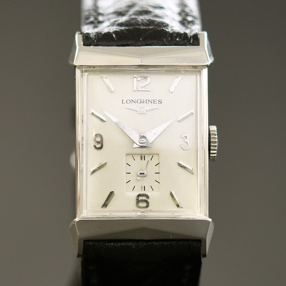1957 LONGINES 'Pres. Fillmore' Gents 14K Solid White Gold Vintage Watch