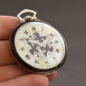 30s Swiss Platinum M.C. Escher Art Deco Pocket Watch