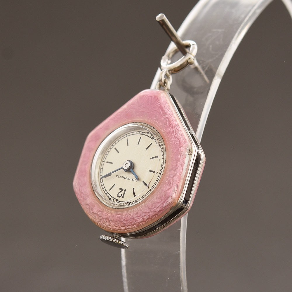 30s Swiss Ladies Guilloche/enamel Art Deco Pendant Watch