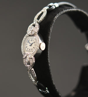 30s JOEL Ladies Platinum & Diamonds Art Deco Watch