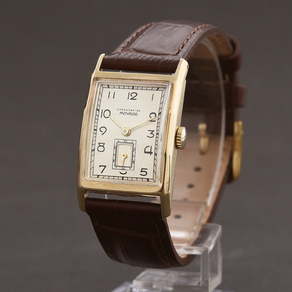 40s MOVADO 14K Gold Gents Art Deco Vintage Dress Watch