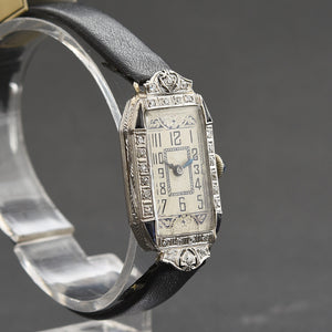 20s PIEDMONT Ladies Platinum Diamonds-Sapphires Art Deco Watch