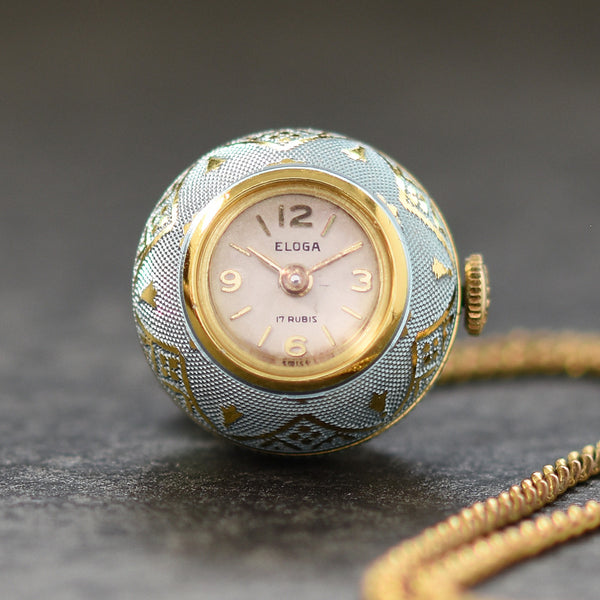 60s ELOGA Swiss Ladies Vintage Pendant Ball Watch