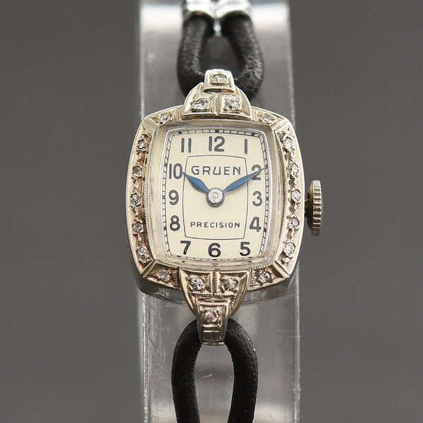 1937 GRUEN 'Banff' 14K Gold/Diamonds Art Deco Ladies Watch