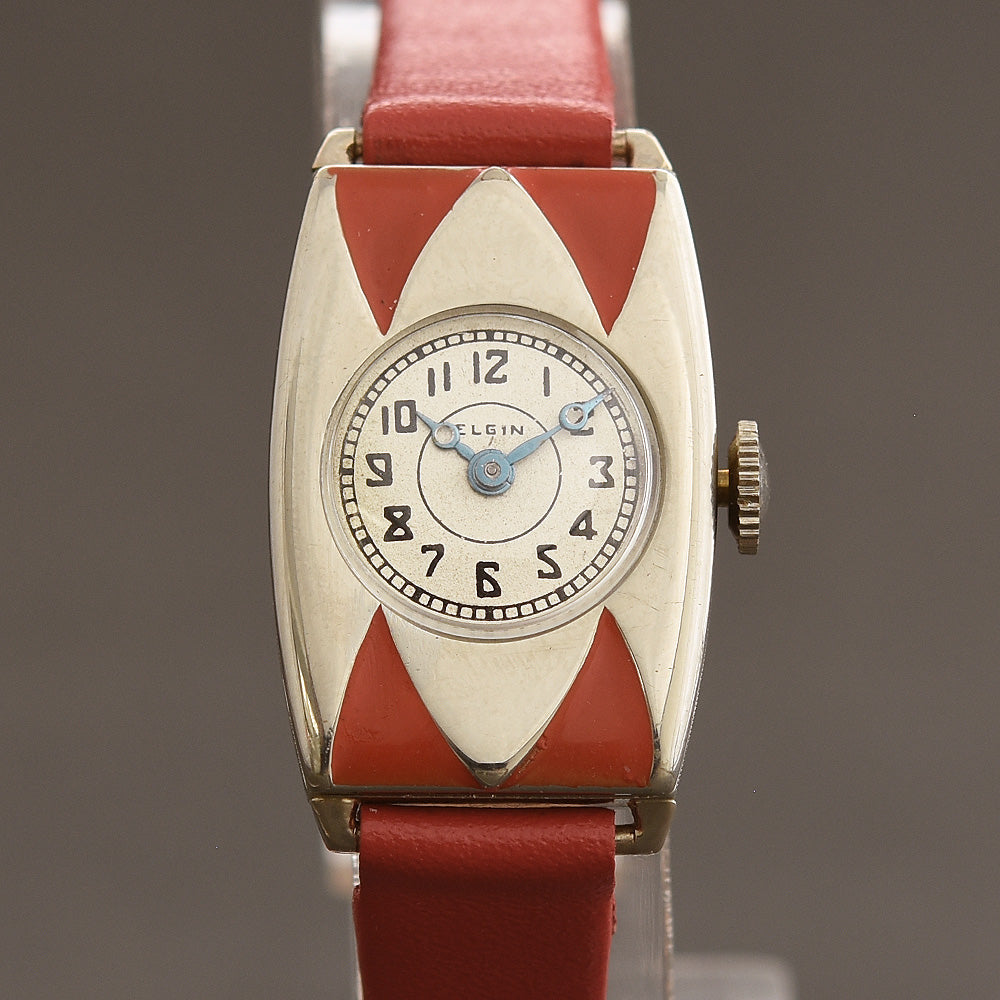 30s ELGIN USA Parisienne Ladies Art Deco Enamel Watch