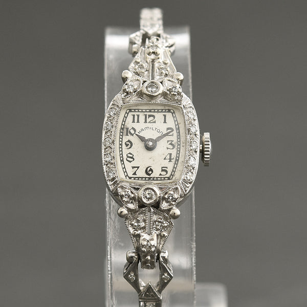 40s HAMILTON USA 14K Gold/Diamonds Watch