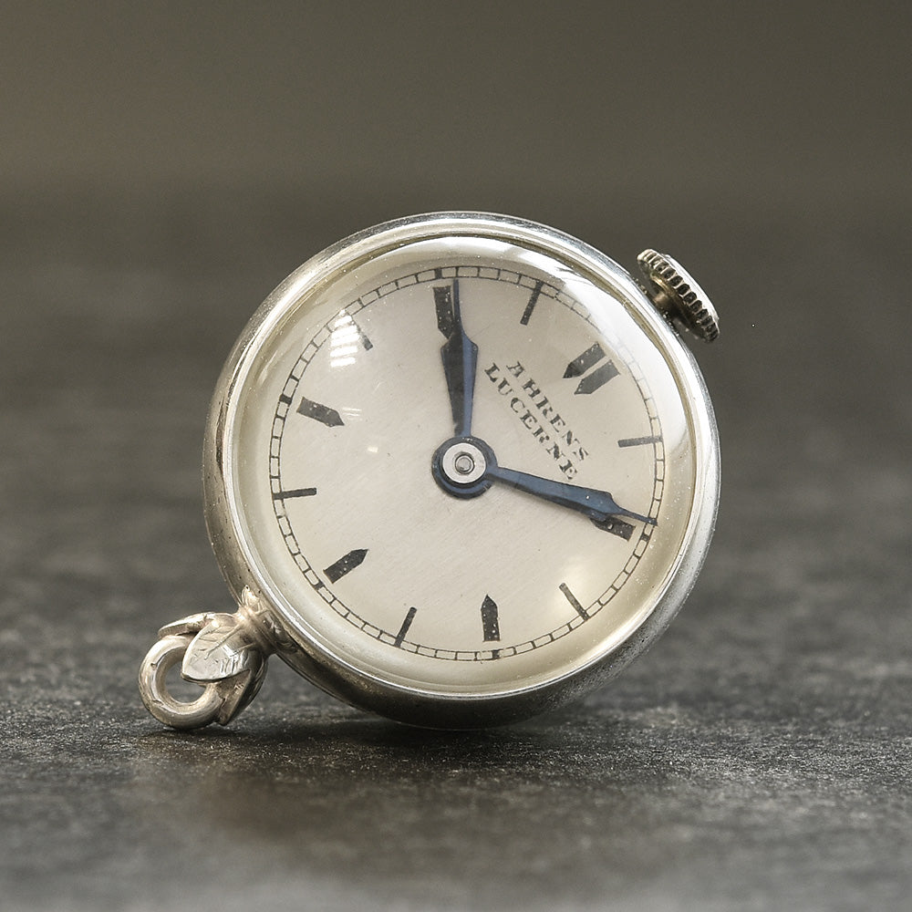 30s AHRENS Lucerne Swiss Ladies Silver Pendant Ball Watch