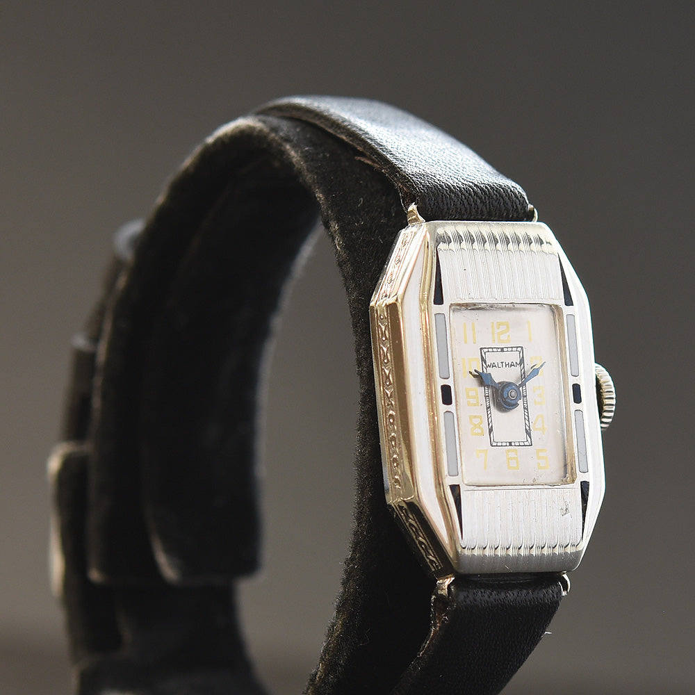 1929 WALTHAM USA Ladies 14K Gold/Enamel Art Deco Watch