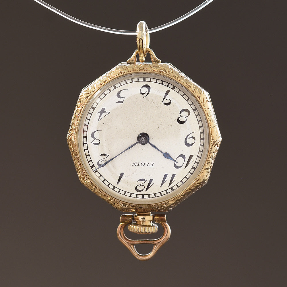 1918 ELGIN USA 14K Solid Gold Ladies Pendant/Pocket Watch