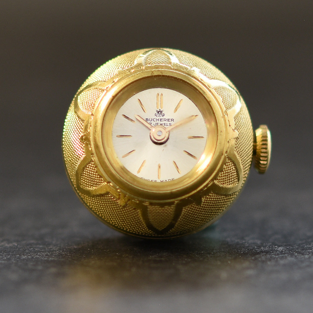 60s BUCHERER Swiss Ladies Guilloche Pendant Ball Watch