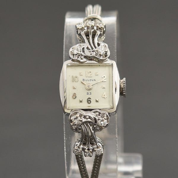 1958 BULOVA USA 23 Ladies 14K Gold/Diamonds Cocktail Watch