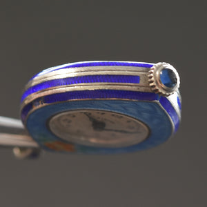 20s ALBUSE Swiss Guilloche/enamel Art Deco Pendant Watch