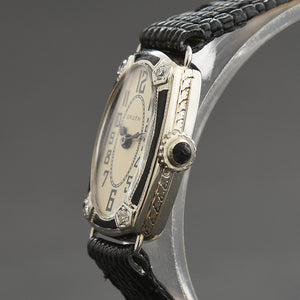 20s GRUEN Ladies 14K Gold/Diamonds/Enamel Art Deco Watch