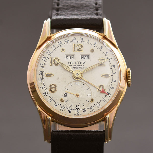 50s BELTEX Gents Triple Calendar Vintage Watch