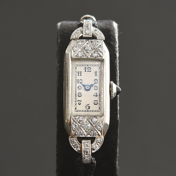 1931 BULOVA Ladies Platinum/18K Gold & Diamonds Art Deco Watch