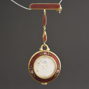 60s BUCHERER Swiss Ladies Guilloche/enamel Pendant Watch
