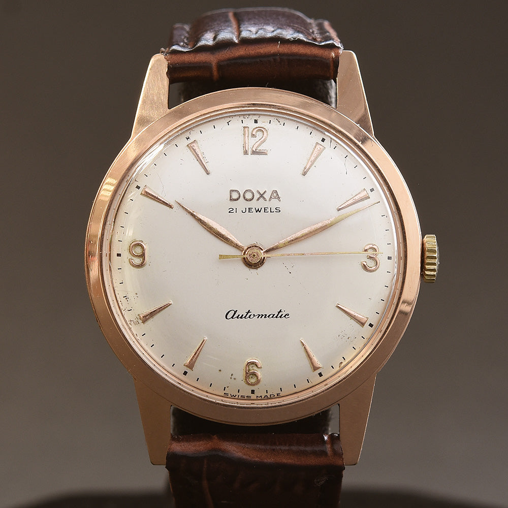 50s DOXA Automatic Gents Swiss 14K Solid Gold Vintage Watch