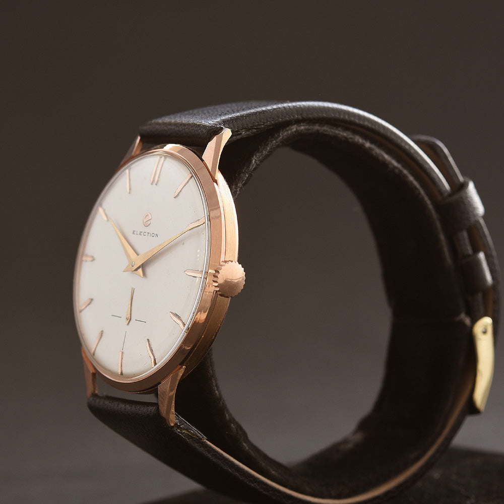 50s ELECTION Gents XL Swiss 18K Solid Gold Vintage Watch