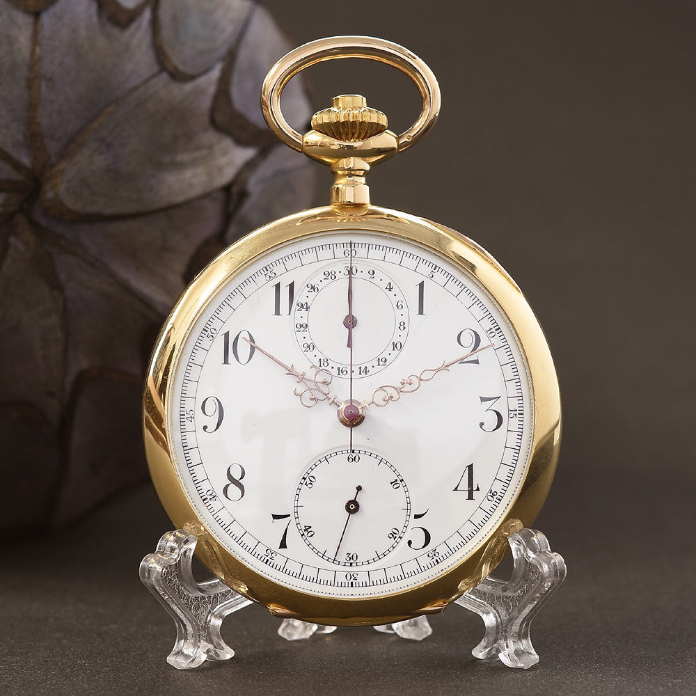 1920s VULCAIN Chronograph 18K Gold Swiss Pocket Watch