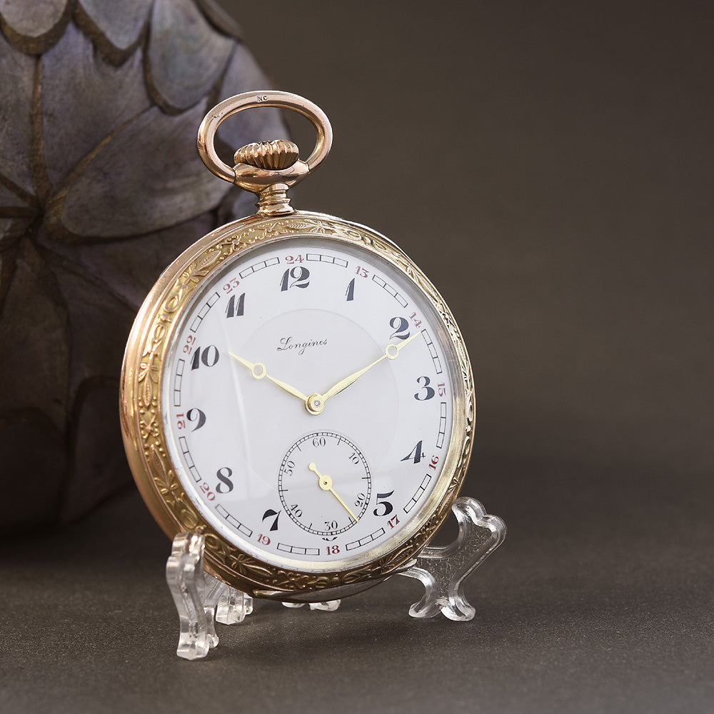 1938 LONGINES Niello/0.800 Silver Swiss Pocket Watch