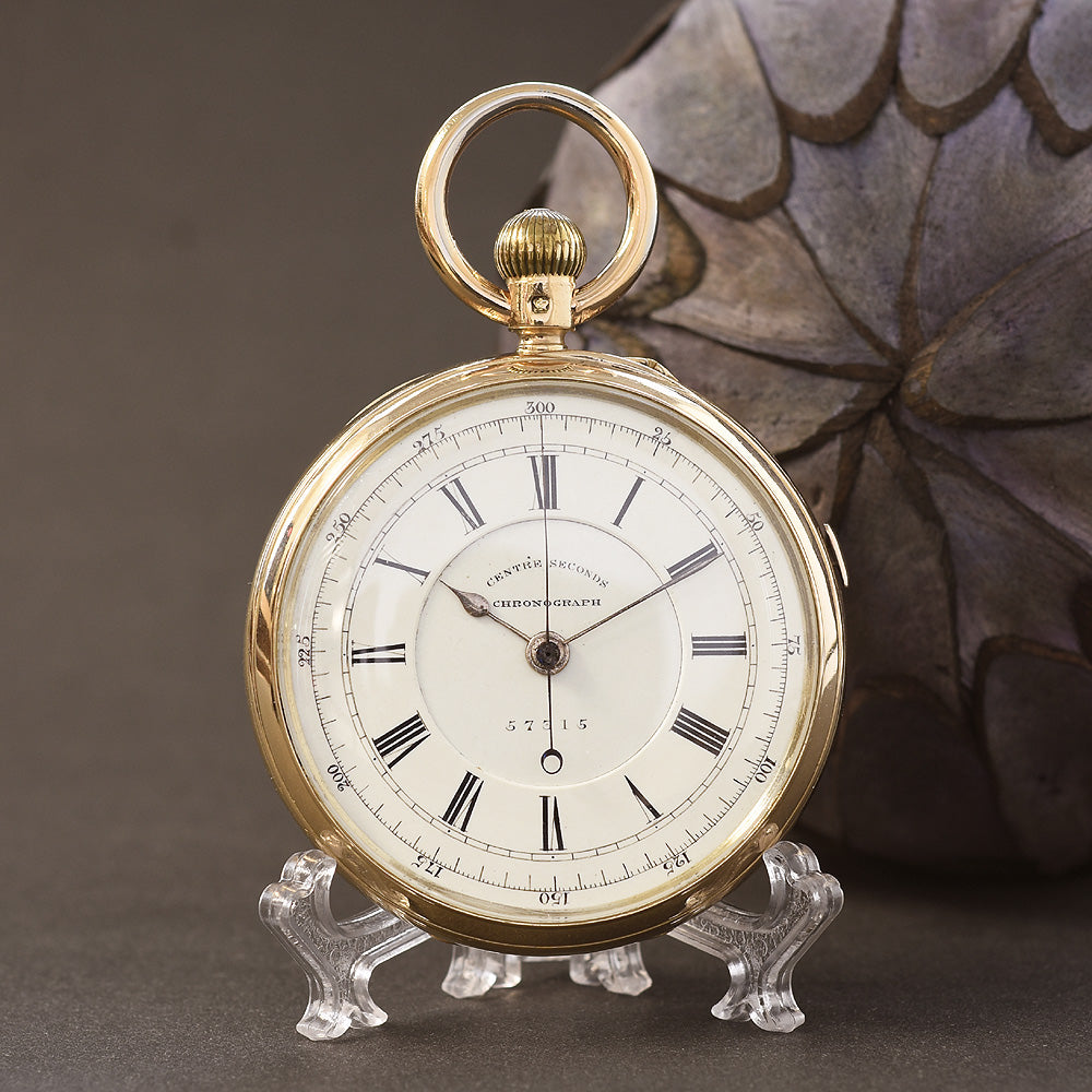 1882 J. ROTHERHAM 18K Large English Chronograph Pocket Watch
