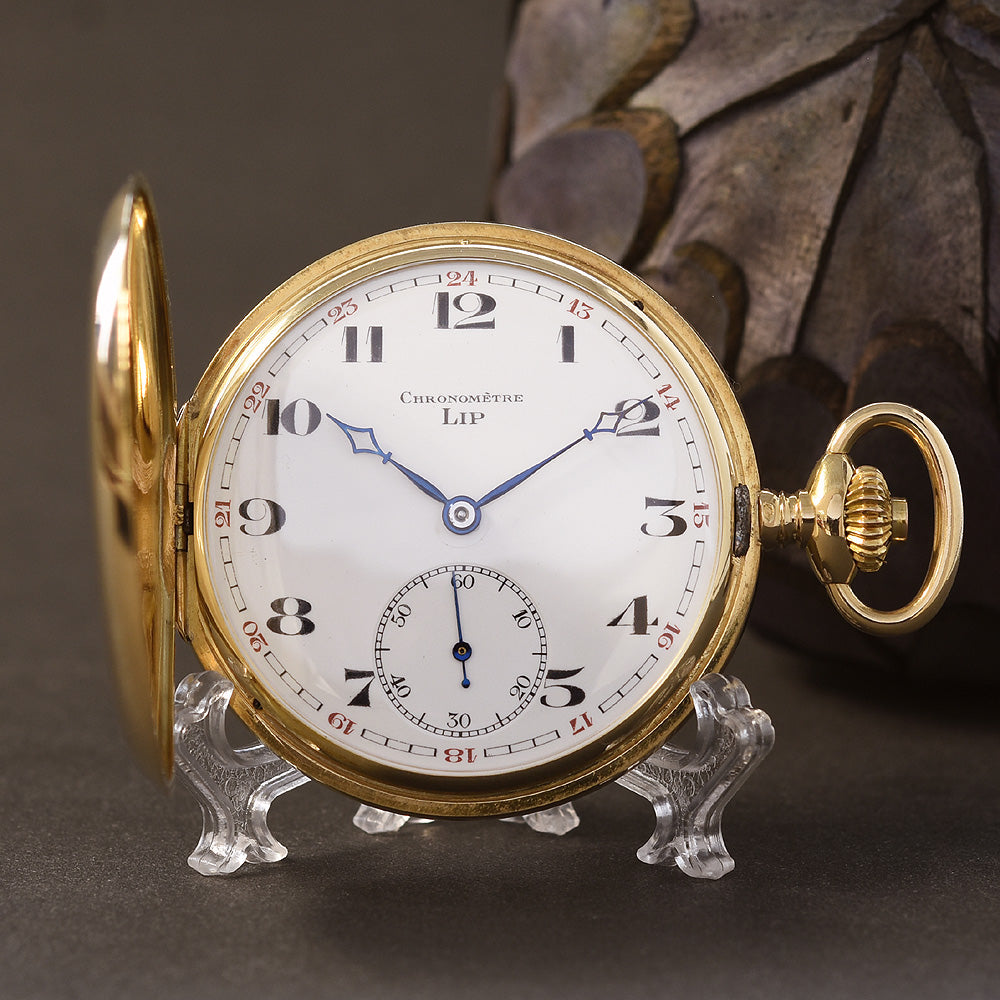1920s LIP Chronometer 18K Gold Hunter/Savonette Pocket Watch